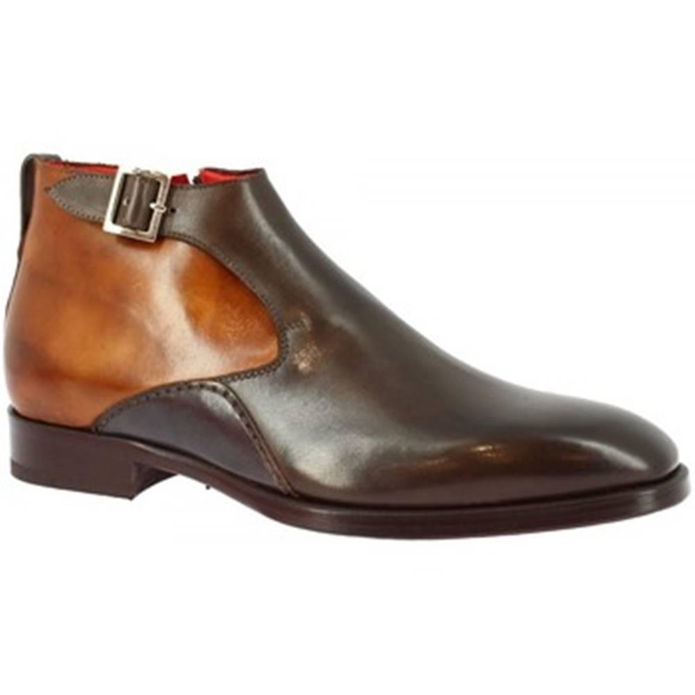 Leonardo Shoes Polokozačky Leonardo Shoes  8239I18 TOM VITELLO DELAVE CIOCCOLATO