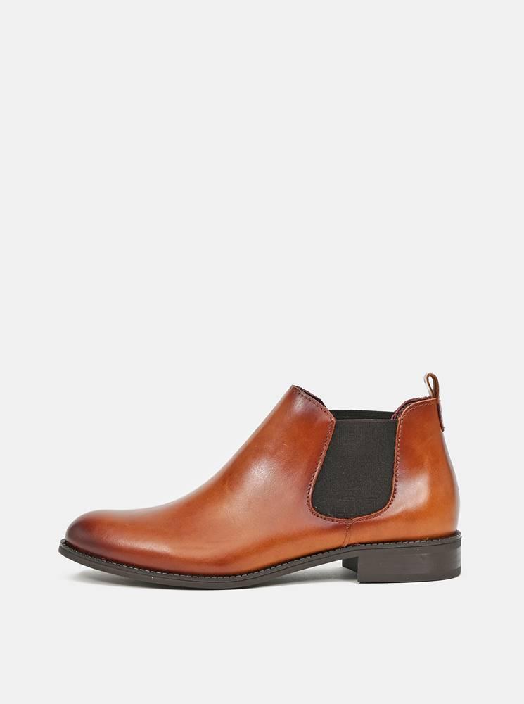 OJJU Hnedé dámske kožené chelsea topánky OJJU
