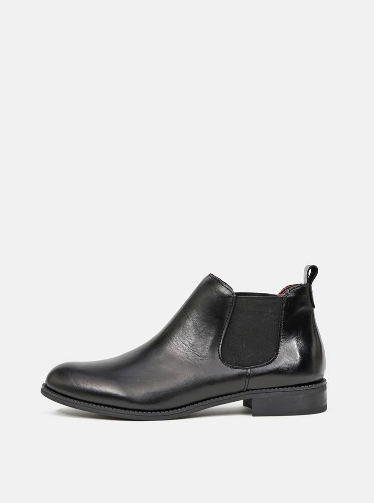 OJJU Čierne dámske kožené chelsea topánky OJJU