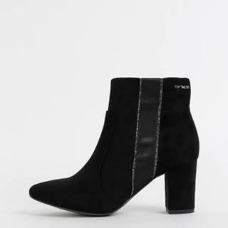 Čierne dámske členkové topánky v semišovej úprave Tom Tailor