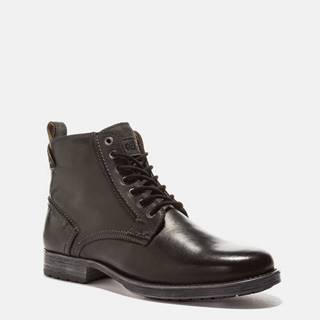 Čierne pánske kožené členkové topánky Wrangler