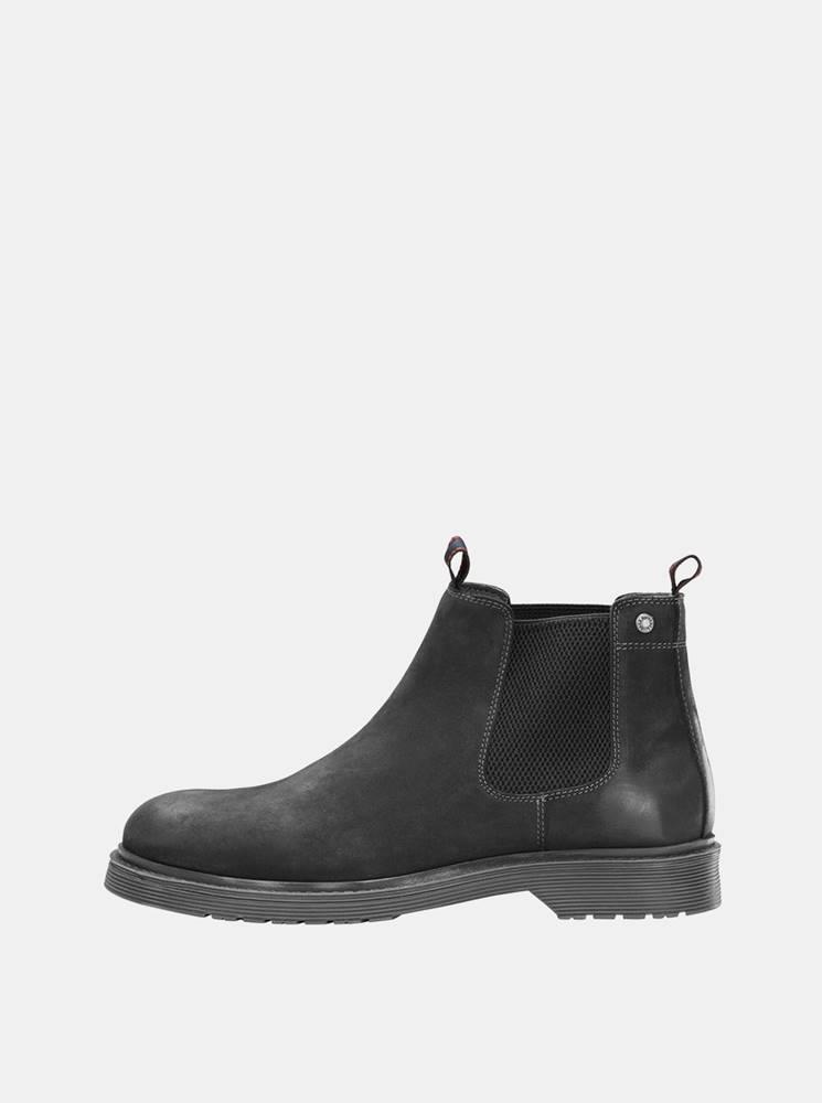 Jack & Jones Čierne pánske kožené chelsea topánky Jack & Jones Leyton