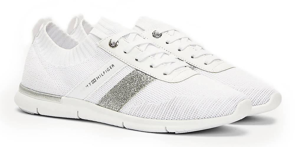 Tommy Hilfiger Tommy Hilfiger biele ponožkové tenisky Feminine Lightweight Sneaker White