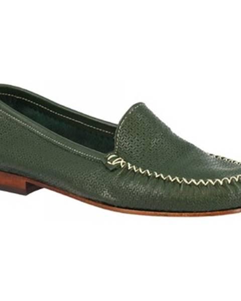 Zelené mokasíny Leonardo Shoes