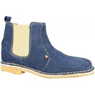 Polokozačky Leonardo Shoes  083 TRAFORATO BLUE