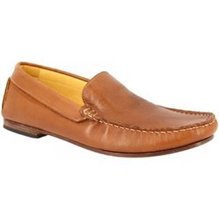 Mokasíny Leonardo Shoes  500 VITELLO BRANDY F. DO CUOIO