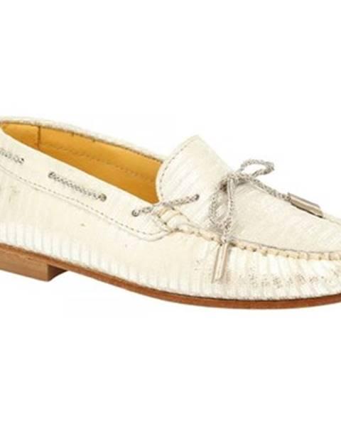 Biele mokasíny Leonardo Shoes