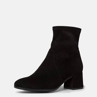 Čierne dámske členkové topánky v semišovej úprave Tamaris