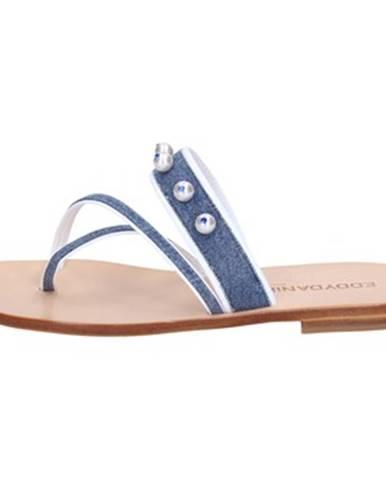 Sandále Eddy Daniele  sandali blu jeans bianco pelle swarovski aw229