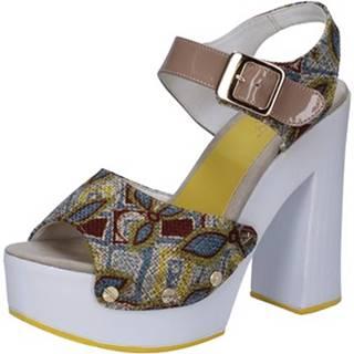 Sandále Suky Brand  sandali beige tessuto vernice AB308