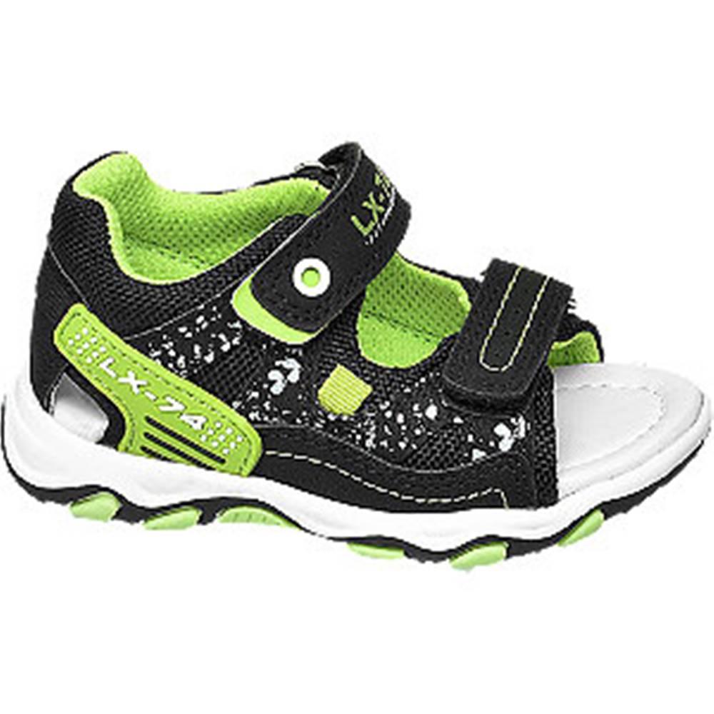 Bobbi-Shoes Zeleno-čierne sandále na suchý zips Bobbi Shoes