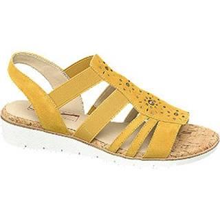 Žlté kožené komfortné sandále Medicus