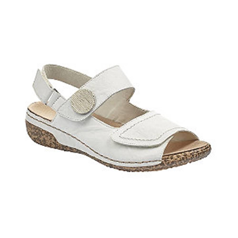 Rieker Biele kožené komfortné sandále Rieker