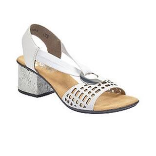 Biele kožené komfortné sandále na podpätku Rieker