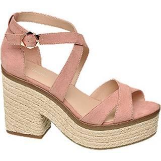 Ružové sandále na blokovom podpätku