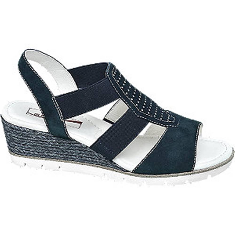Medicus Tmavomodré kožené komfortné sandále na klinovom podpätku Medicus
