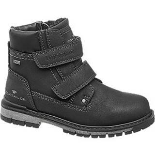 Čierna členková obuv na suchý zips s TEX membránou Tom Tailor