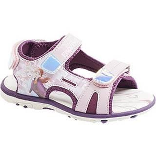 Fialové sandále na suchý zips Ľadové kráľovstvo