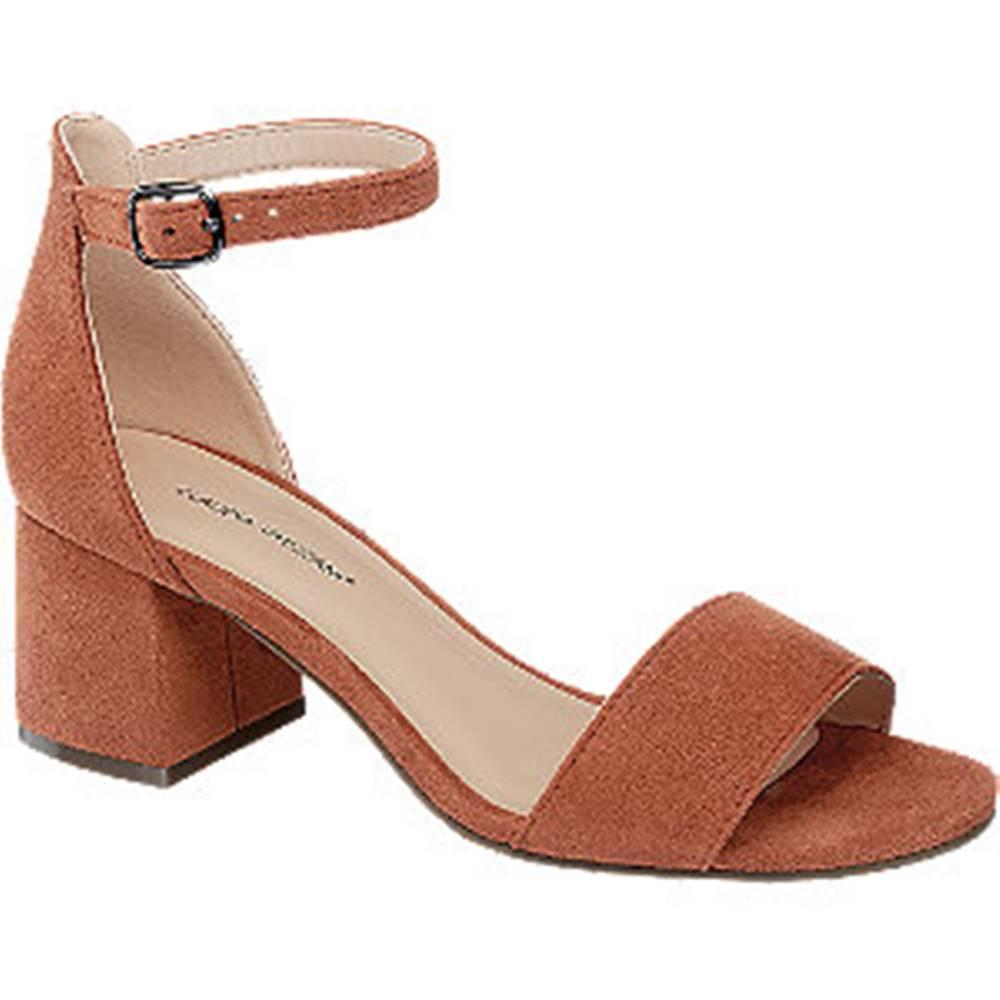 Claudia Ghizzani Oranžovo-hnedé sandále na podpätku Claudia Ghizzani