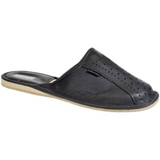Papuče Just Mazzoni  Pánske luxusné kožené tmavo-sivé papuče GIVELLI