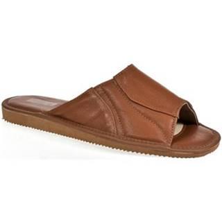 Šľapky Just Mazzoni  Luxusné pánske hnedé kožené papuče GERRY