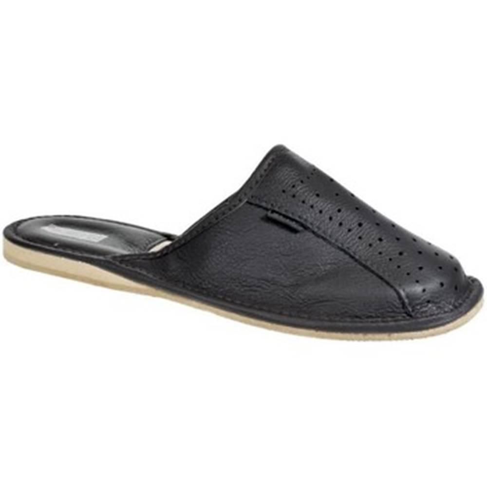 Just Mazzoni Papuče Just Mazzoni  Pánske luxusné kožené tmavo-sivé papuče GIVELLI