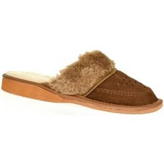 Papuče John-C  Dámske kožené hnedé papuče ARABELA