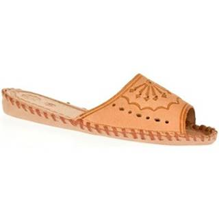 Papuče Just Mazzoni  Dámske béžové kožené papuče HANDMADE GORAL