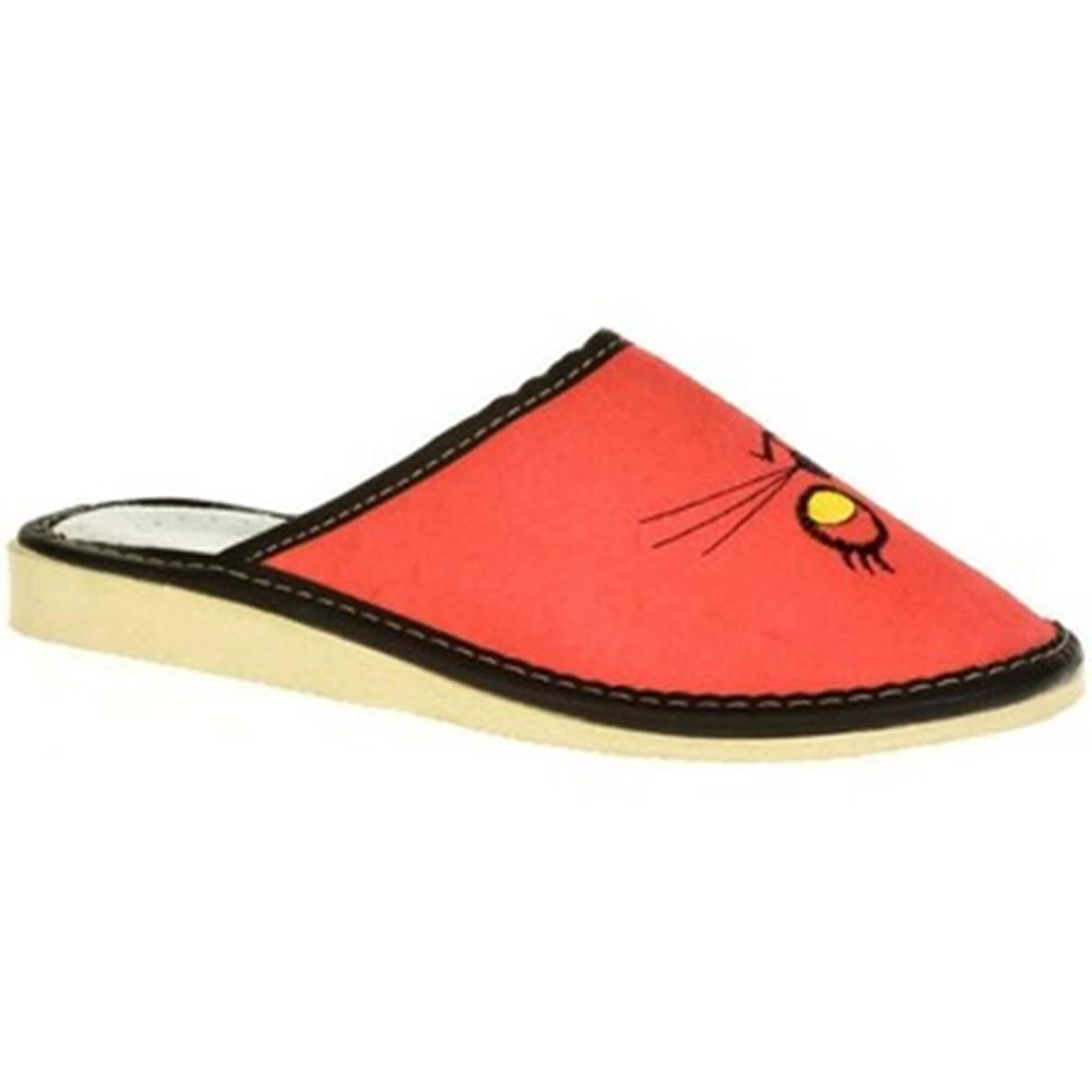 John-C Papuče John-C  Dámske červené kožené papuče MŇAUKO