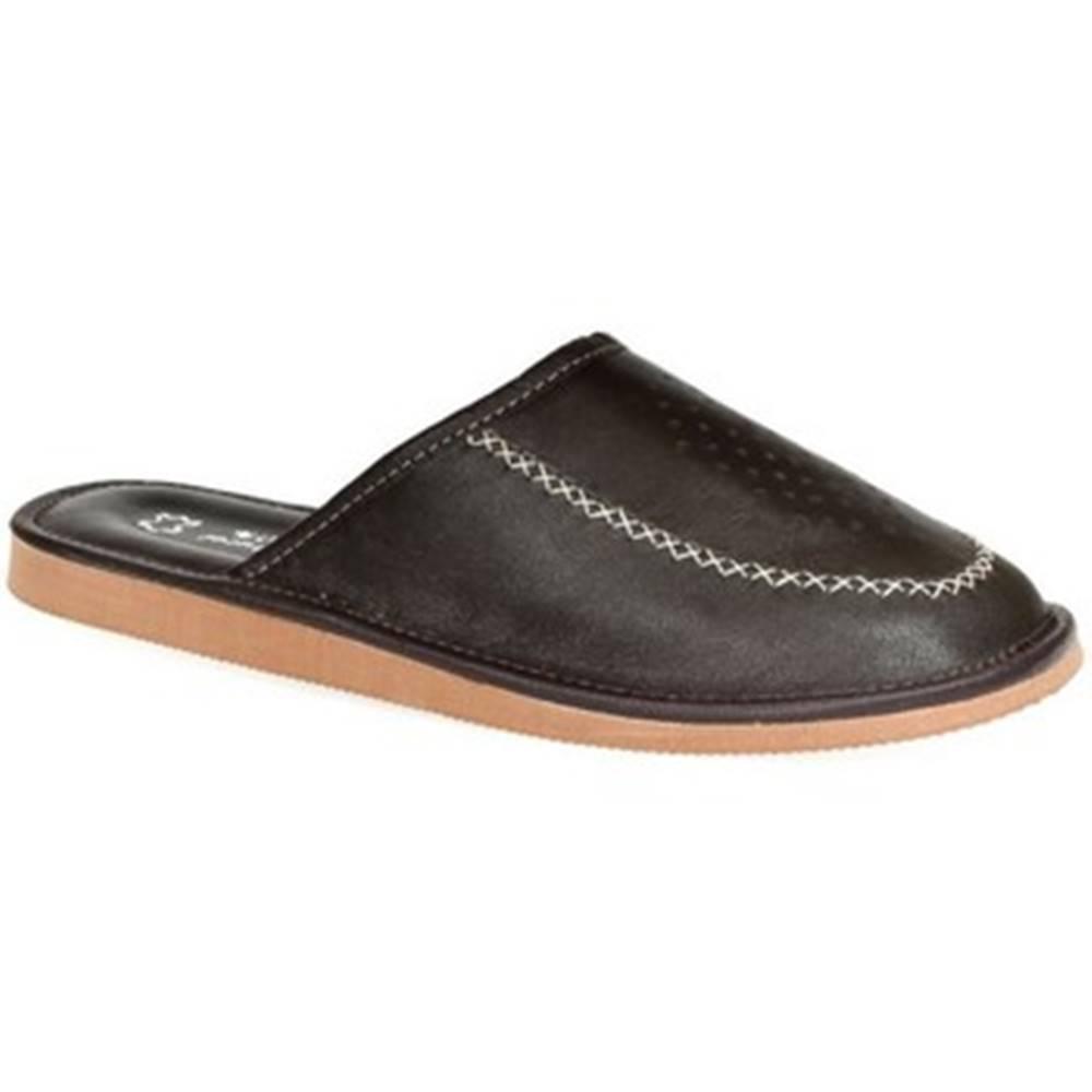 John-C Papuče John-C  Luxusné pánske hnedé kožené papuče JOSEL