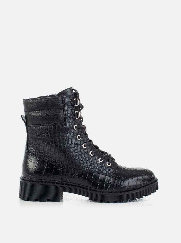 musk Čierne dámske členkové topánky s hadím vzorom MUSK