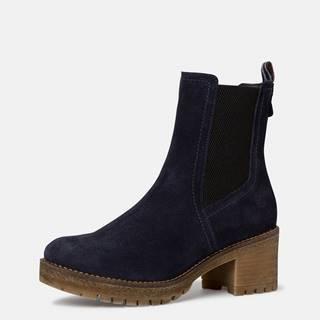 Tmavomodré semišové členkové topánky Tamaris