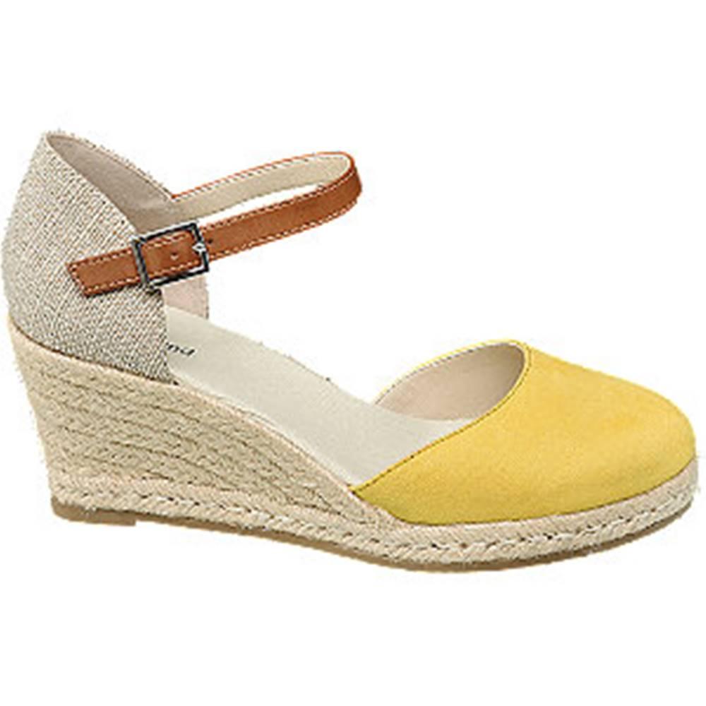 Graceland Béžovo-žlté sandále na klinovom podpätku Graceland