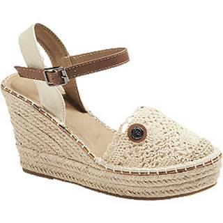Béžové sandále na klinovom podpätku Tom Tailor