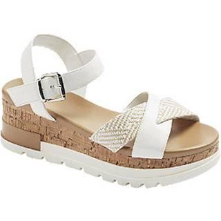 Biele sandále na klinovom podpätku Graceland