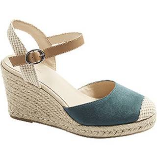 Modré sandále na klinovom podpätku Graceland