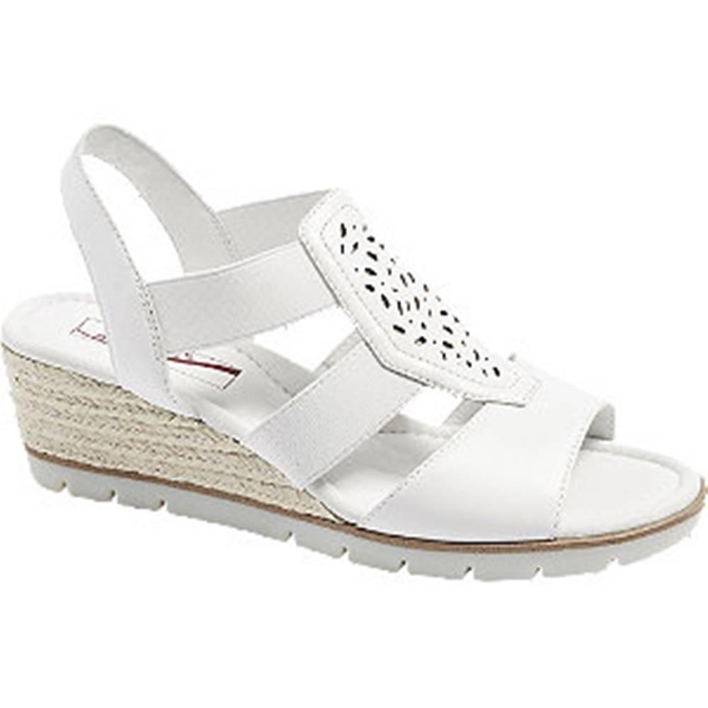 Medicus Biele kožené komfortné sandále na klinovom podpätku