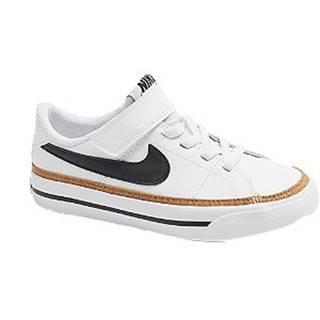 Biele kožené tenisky na suchý zips Nike Court Legacy
