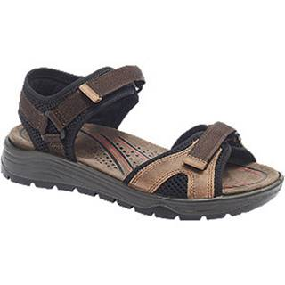 Hnedo-čierne kožené komfortné sandále