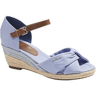 Modré sandále na klinovom podpätku