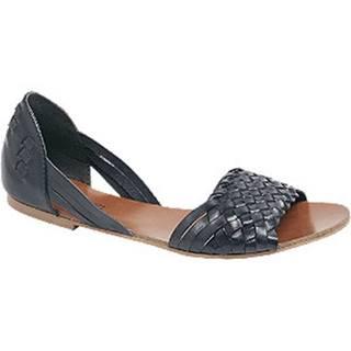 Tmavomodré kožené sandále 5th Avenue