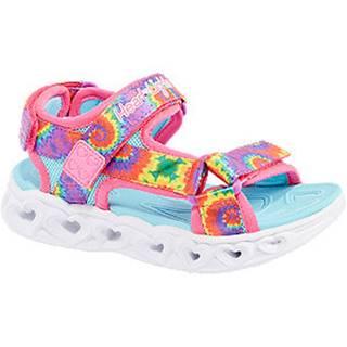 Viacfarebné sandále na suchý zips so svetielkom Skechers