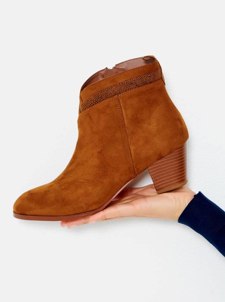 CAMAIEU Hnedé členkové topánky v semišovej úprave CAMAIEU