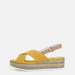 Horčicové dámske semišové sandále