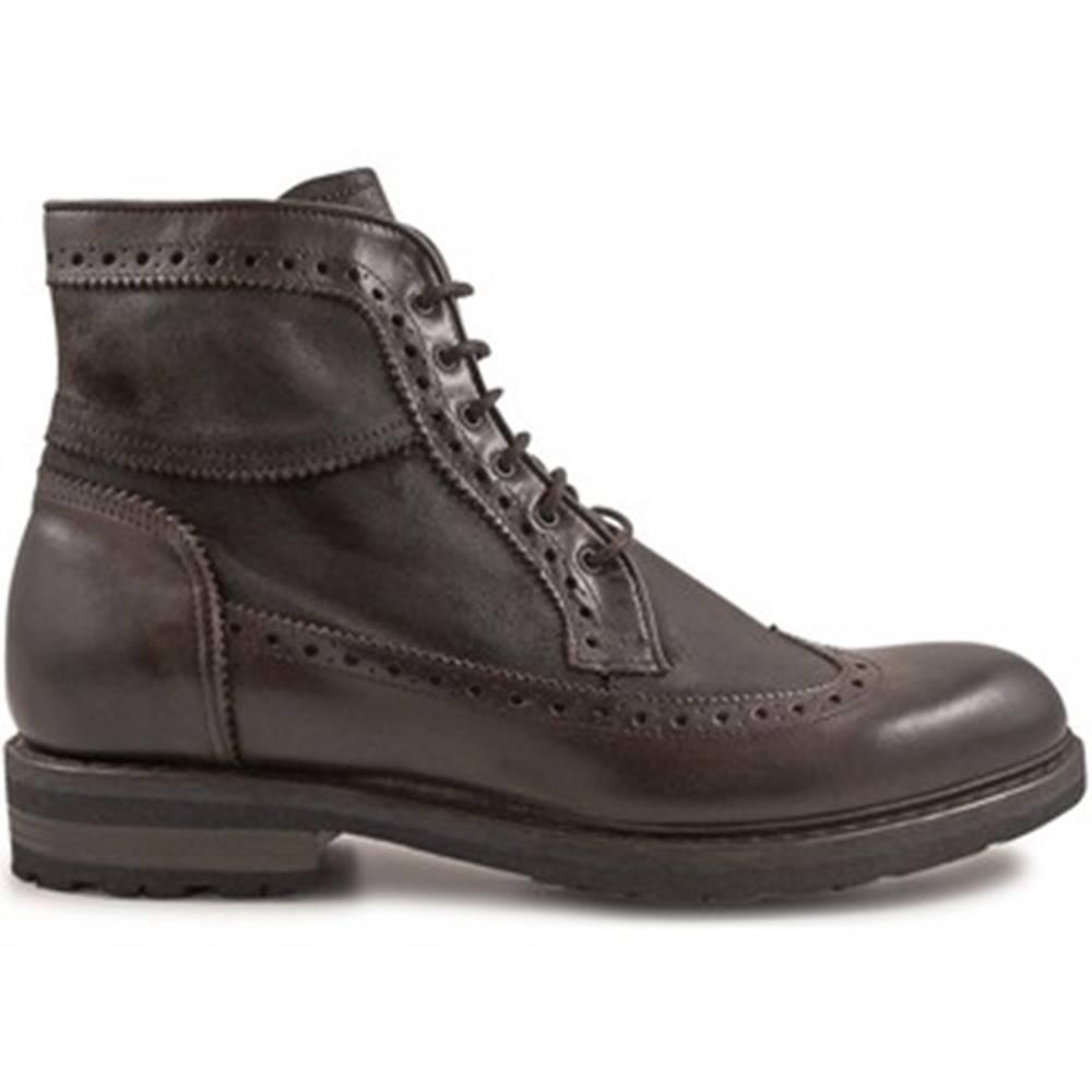 Leonardo Shoes Polokozačky Leonardo Shoes  4682 OXFORD DELAVE CIOCCOLATO