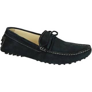 Mokasíny Leonardo Shoes  502 CAMOSCIO BLU PIOLI