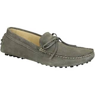 Mokasíny Leonardo Shoes  502 CAMOSCIO GRIGIO PIOLI