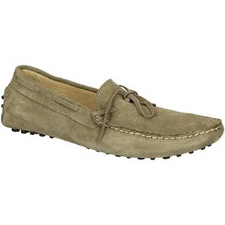 Mokasíny Leonardo Shoes  502 CAMOSCIO TAUPE PIOLI