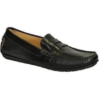 Mokasíny Leonardo Shoes  503 VITELLO NERO FAUSTO