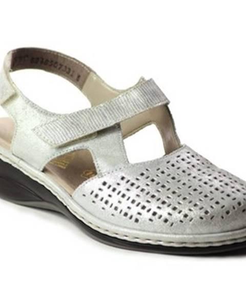 Strieborné topánky Rieker